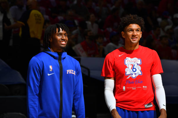 Tyrese Maxey of the Philadelphia 76ers and Matisse Thybulle of the Philadelphia 76ers warm up prior to a game against the Atlanta Hawks during Round...