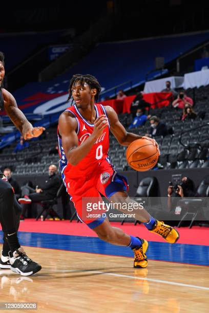 Tyrese Maxey of the Philadelphia 76ers drives to the basket against the Miami Heat on January 14, 2021 at Wells Fargo Center in Philadelphia,...