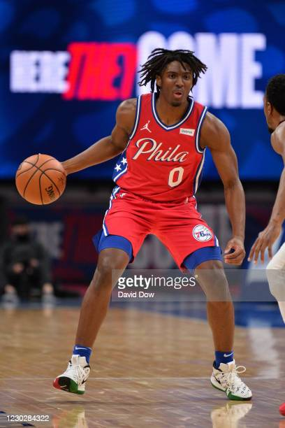 Tyrese Maxey of the Philadelphia 76ers handles the ball during the game against the Washington Wizards on December 23, 2020 at the Wells Fargo Center...