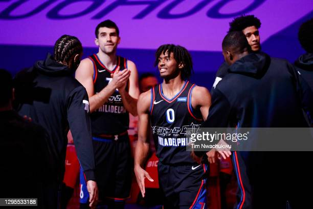 Tyrese Maxey of the Philadelphia 76ers is introduced before playing against the Denver Nuggets at Wells Fargo Center on January 09, 2021 in...