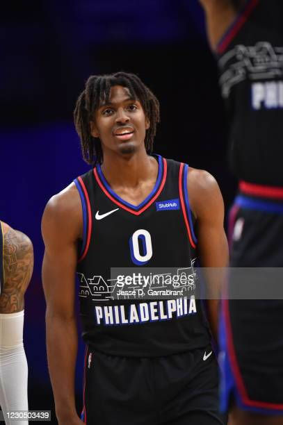 Tyrese Maxey of the Philadelphia 76ers looks on during the game against the Denver Nuggets on January 9, 2021 at the Wells Fargo Center in...