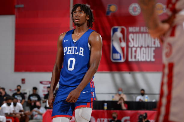 Tyrese Maxey of the Philadelphia 76ers looks on during the game against the Atlanta Hawks during the 2021 Las Vegas Summer League on August 12, 2021...