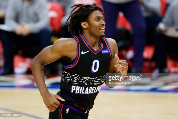 Tyrese Maxey of the Philadelphia 76ers runs during the first quarter against the Denver Nuggets at Wells Fargo Center on January 09, 2021 in...