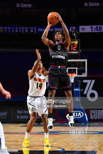 Tyrese Maxey of the Philadelphia 76ers shoots the ball during the game against the Denver Nuggets on January 9, 2021 at the Wells Fargo Center in...