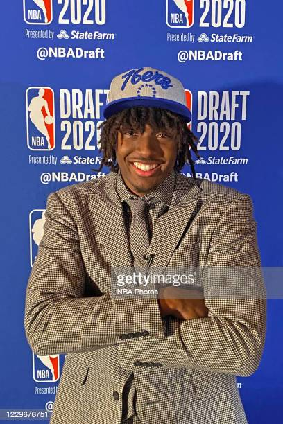 Tyrese Maxey poses for a photo with his NBA Draft hat after being drafted by the Philadelphia 76ers during the 2020 NBA Draft on November 18, 2020....