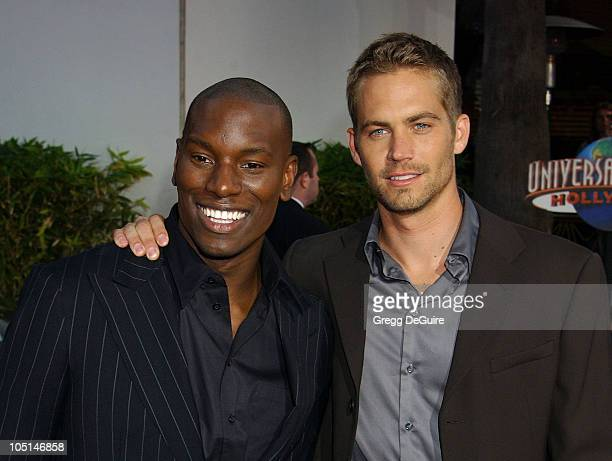 Tyrese Paul Walker during The World Premiere Of 2 Fast 2 Furious Arrivals at Universal Amphitheatre in Universal City California United States
