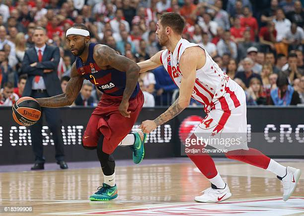 Tyrese Rice of Barcelona Lassa in action against Stefan Jovic of Crvena Zvezda during the 2016/2017 Turkish Airlines EuroLeague Regular Season Round...