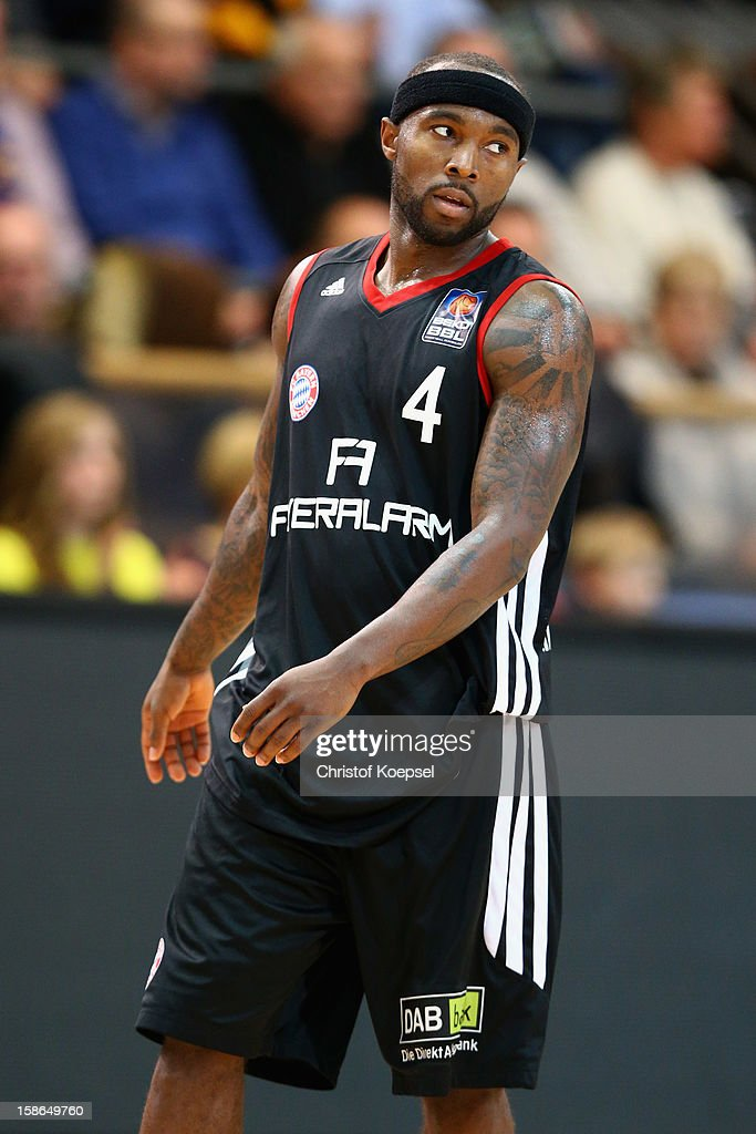 Tyrese Rice of Bayern Muenchen looks on during the Beko BBL Bundesliga match between Phoenix Hagen and FC Bayern Muenchen at ENERVIE Arena on December 22, 2011 in Hagen, Germany.