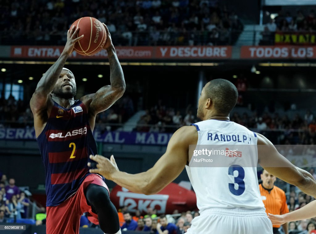 Tyrese Rice of FC Barcelona during the Liga Endesa game between Real Madrid v FC Barcelona at Barclaycard Center on March 12, 2017 in Madrid, Spain.