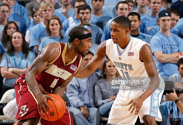 Tyrese Rice of the Boston College Eagles looks to make a play to the basket against Larry Drew of the North Carolina Tar Heels during their game on...