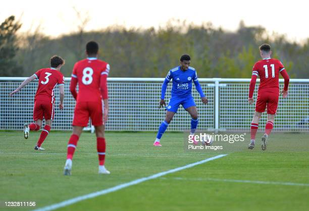 Tyrese Shade of Leicester City with Owen Beck of Liverpool, Elijah Dixon-Bonner of Liverpool and Ben Woodburn of Liverpool during the Premier League...
