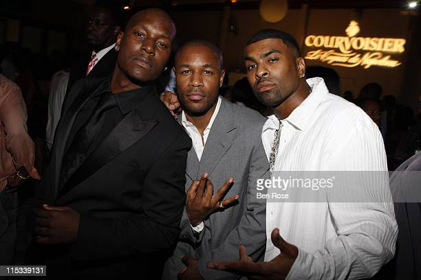 Tyrese Tank and Ginuwine during House of Courvoisier TI vs TIP Album Release Party at Republic in West Hollywood California United States