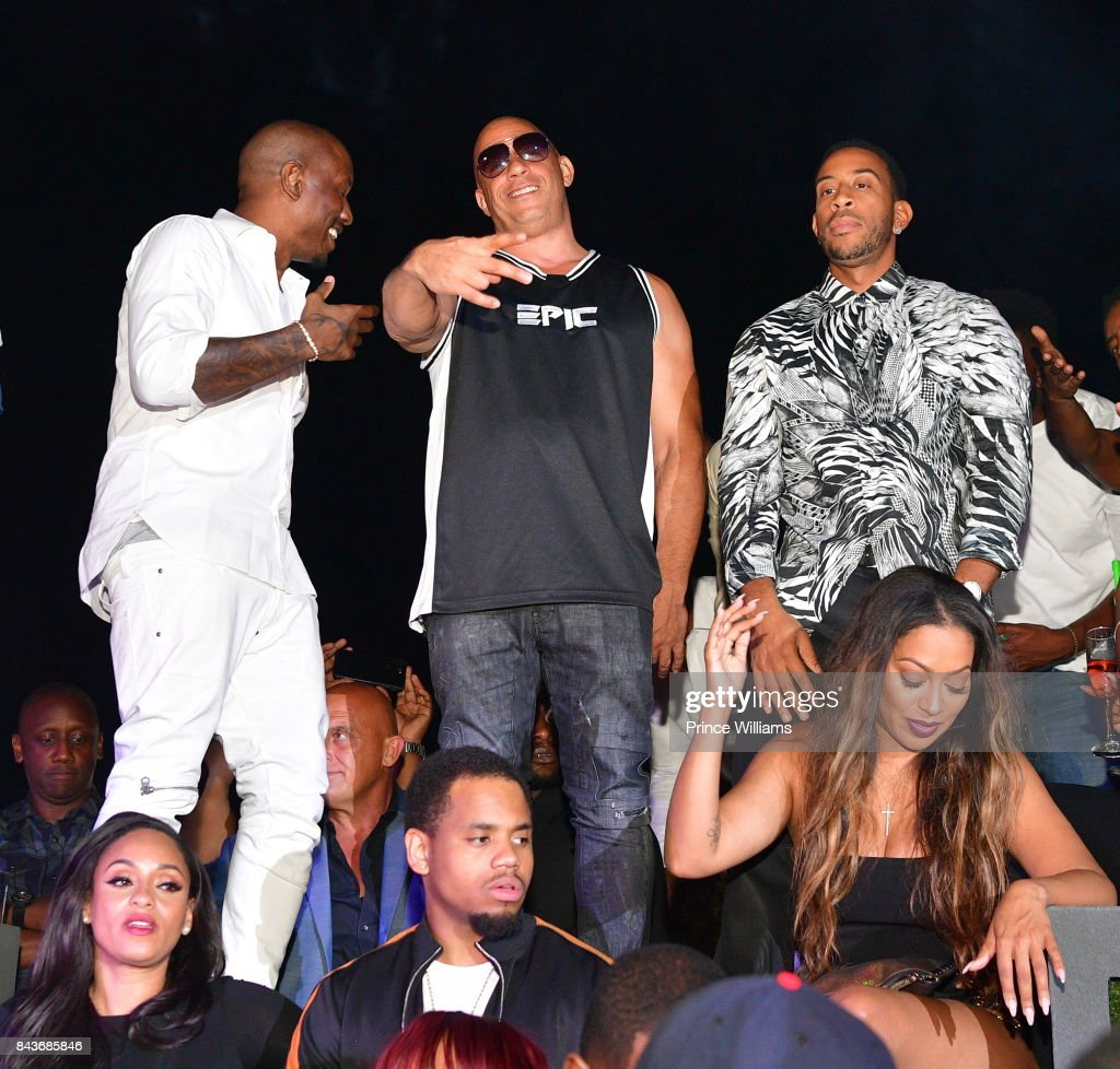 Tyrese, Vin Diesel and Ludacris attend the Luda birthday celebration at Compound on September 3, 2017 in Atlanta, Georgia.