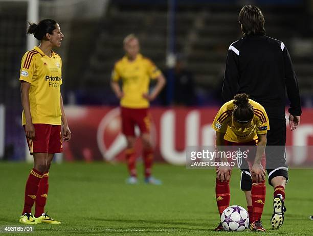Tyreso players react after losing the UEFA Women's Champions League final football match Tyreso FF vs Vfl Wolfsburg at Restelo stadium in Lisbon on...