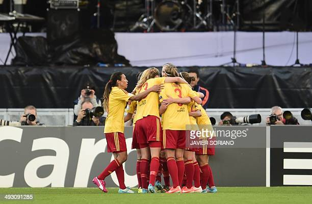 Tyreso's players celebrate their second goal during the UEFA Women's Champions League final football match Tyreso FF vs Vfl Wolfsburg at Restelo...