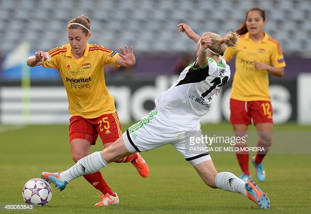 Tyreso's US defender Meghan Klingenberg vies with Wolfsburg's forward Alexandra Popp during the UEFA Women's Champions League final football match...
