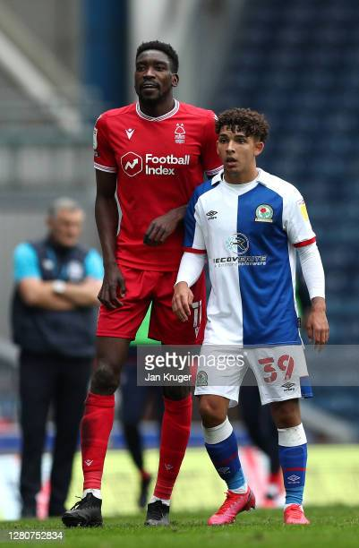 Tyrhys Dolan of Blackburn Rovers and Sammy Ameobi of Nottingham Forest looks on during the Sky Bet Championship match between Blackburn Rovers and...