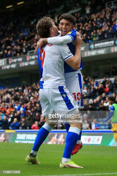 Tyrhys Dolan of Blackburn Rovers celebrates with Sam Gallagher of Blackburn Rovers after scoring their 2nd goal during the Sky Bet Championship match...