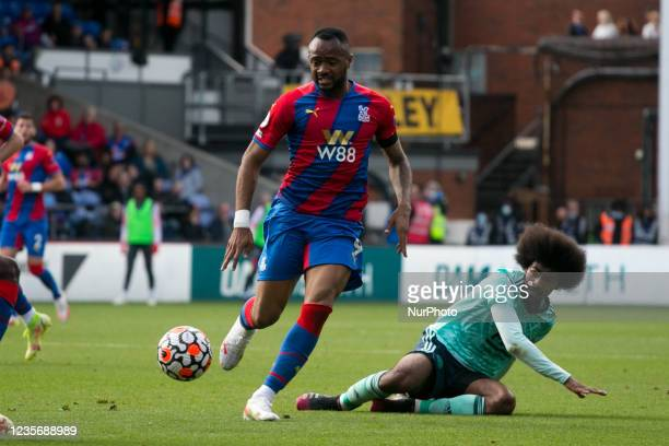 Tyrick Mitchell of Crystal Palace and Hamza Choudhury of Leicester battle for the ball during the Premier League match between Crystal Palace and...