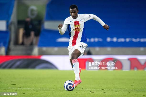 Tyrick Mitchell of Crystal Palace control ball during the Premier League match between Brighton & Hove Albion and Crystal Palace at American Express...