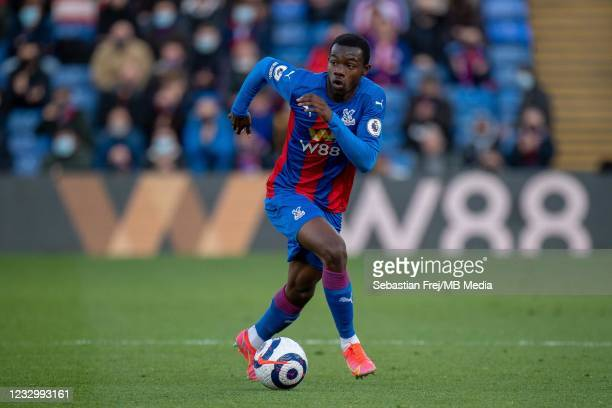 Tyrick Mitchell of Crystal Palace control ball during the Premier League match between Crystal Palace and Arsenal at Selhurst Park on May 19, 2021 in...
