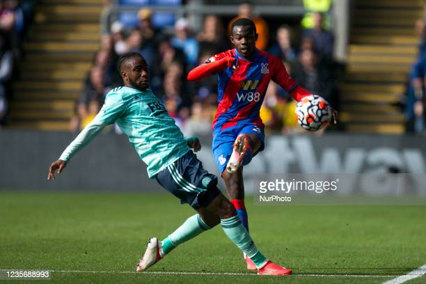 Tyrick Mitchell of Crystal Palace controls the ball during the Premier League match between Crystal Palace and Leicester City at Selhurst Park,...