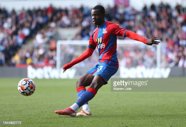 Tyrick Mitchell of Crystal Palace passes the ball during the Premier League match between Crystal Palace and Leicester City at Selhurst Park on...