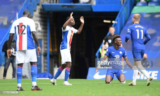 Tyrick Mitchell of Crystal Palace reacts after fouling Tammy Abraham of Chelsea leading to a penalty during the Premier League match between Chelsea...