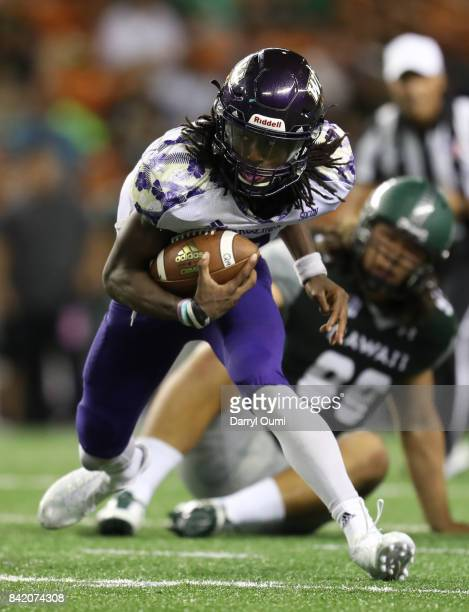 Tyrie Adams of the Western Carolina Catamounts breaks a tackle in the second quarter of the game against the Hawaii Rainbow Warriorsat Aloha Stadium...