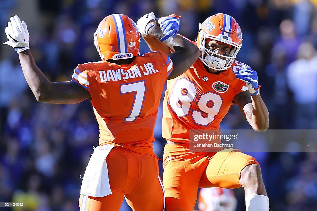 Tyrie Cleveland #89 of the Florida Gators and Duke Dawson #7 celebrate after Florida recovered a fumble during the second half of a game against the LSU Tigers at Tiger Stadium on November 19, 2016 in Baton Rouge, Louisiana.