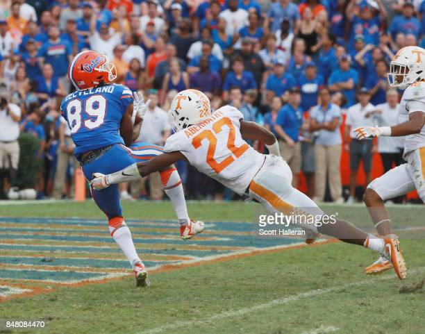 Tyrie Cleveland of the Florida Gators hauls in 63yaerd touchdown at the end of the game to defeat the Tennessee Volunteers 2620 at Ben Hill Griffin...