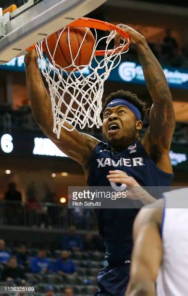 Tyrique Jones of the Xavier Musketeers dunks against the Seton Hall Pirates during the first half of a game at Prudential Center on February 20 2019...