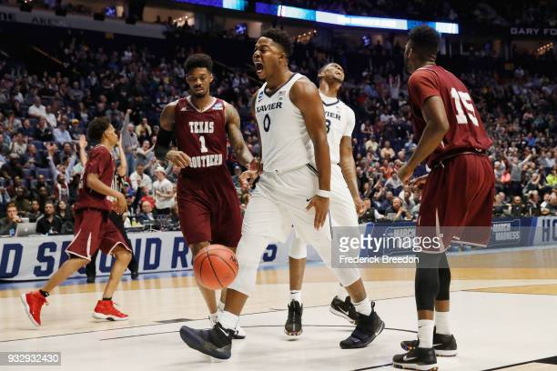 Tyrique Jones of the Xavier Musketeers reacts against the Texas Southern Tigers during the game in the first round of the 2018 NCAA Men's Basketball...