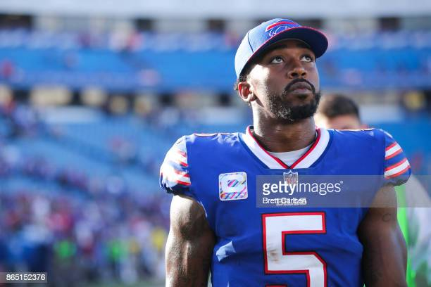 Tyrod Taylor of the Buffalo Bills after an NFL game against the Tampa Bay Buccaneers on October 22 2017 at New Era Field in Orchard Park New York