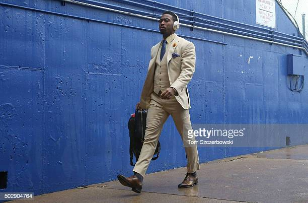 Tyrod Taylor of the Buffalo Bills arrives at the stadium before the start of their game against the Dallas Cowboys during NFL game action at Ralph...