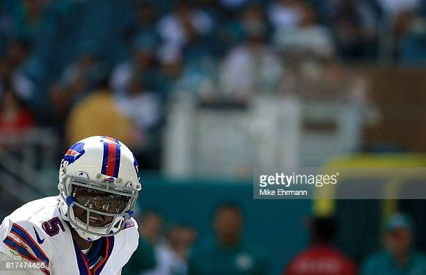 Tyrod Taylor of the Buffalo Bills calls a play during a game against the Miami Dolphins on October 23 2016 in Miami Gardens Florida