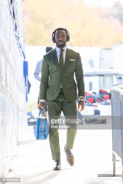 Tyrod Taylor of the Buffalo Bills enters the stadium before the game against the Tampa Bay Buccaneers at New Era Field on October 22 2017 in Orchard...