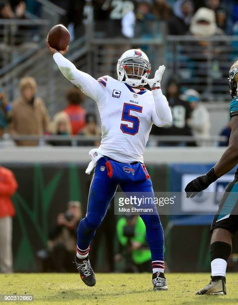 Tyrod Taylor of the Buffalo Bills passes during AFC Wild Card playoff game against the Jacksonville Jaguars at EverBank Field on January 7 2018 in...