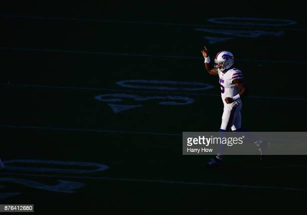 Tyrod Taylor of the Buffalo Bills signals as he comes on to the field during the fourth quarter against the Los Angeles Chargers at StubHub Center on...