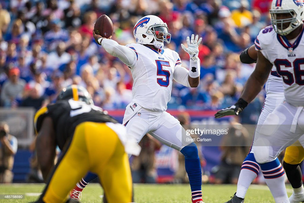 Tyrod Taylor #5 of the Buffalo Bills throws the ball during the second half of a preseason game against the Pittsburgh Steelers on August 29, 2015 at Ralph Wilson Stadium in Orchard Park, New York. Buffalo defeats Pittsburgh 43-19.