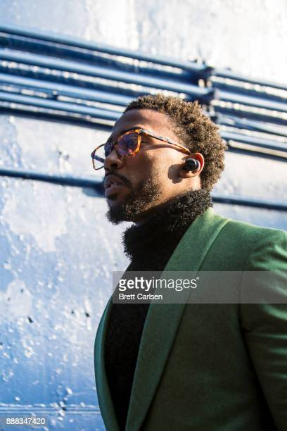 Tyrod Taylor of the Buffalo Bills walks into the stadium before the game against the New England Patriots at New Era Field on December 3 2017 in...