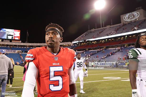 Tyrod Taylor of the Buffalo Bills walks off the field after the New York Jets beat the b 3731 at New Era Field on September 15 2016 in Orchard Park...