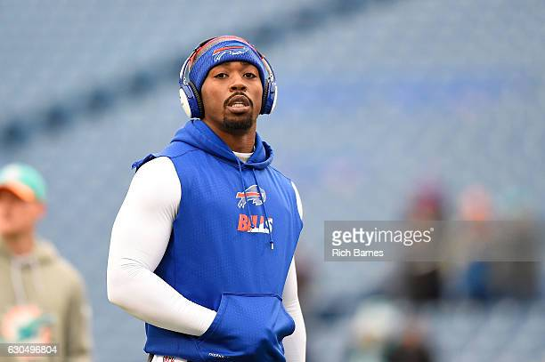 Tyrod Taylor of the Buffalo Bills warms up before the game against the Miami Dolphins at New Era Stadium on December 24 2016 in Orchard Park New York