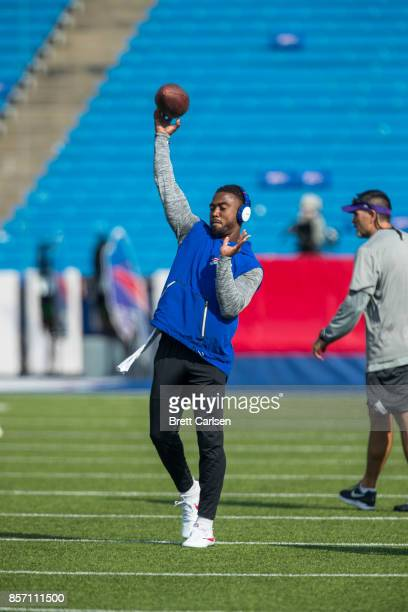 Tyrod Taylor of the Buffalo Bills warms up before the game against the Minnesota Vikings on August 10 2017 at New Era Field in Orchard Park New York...
