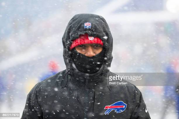 Tyrod Taylor of the Buffalo Bills wears winter clothing as he walks the field before the game against the Indianapolis Colts at New Era Field on...