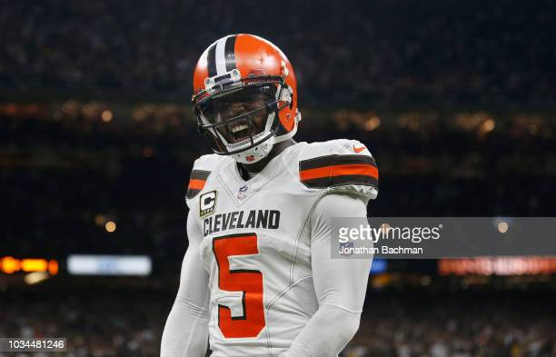 Tyrod Taylor of the Cleveland Browns celebrates after a touchdown during the fourth quarter against the New Orleans Saints at MercedesBenz Superdome...
