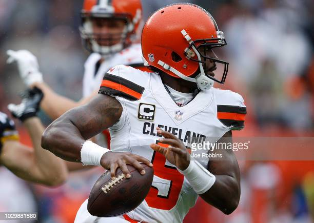 Tyrod Taylor of the Cleveland Browns looks to pass during the first quarter against the Pittsburgh Steelers at FirstEnergy Stadium on September 9...