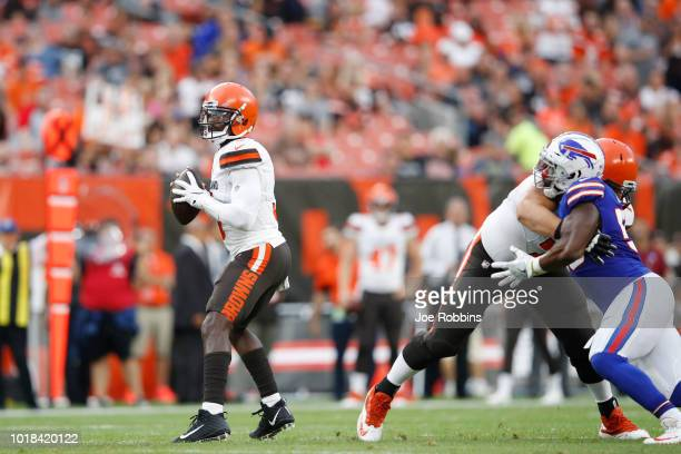 Tyrod Taylor of the Cleveland Browns looks to pass in the first quarter of a preseason game against the Buffalo Bills at FirstEnergy Stadium on...
