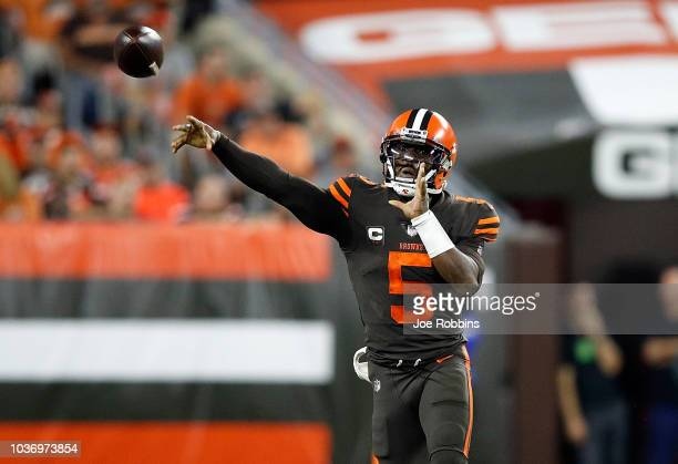 Tyrod Taylor of the Cleveland Browns throws a pass during the second quarter against the New York Jets at FirstEnergy Stadium on September 20 2018 in...