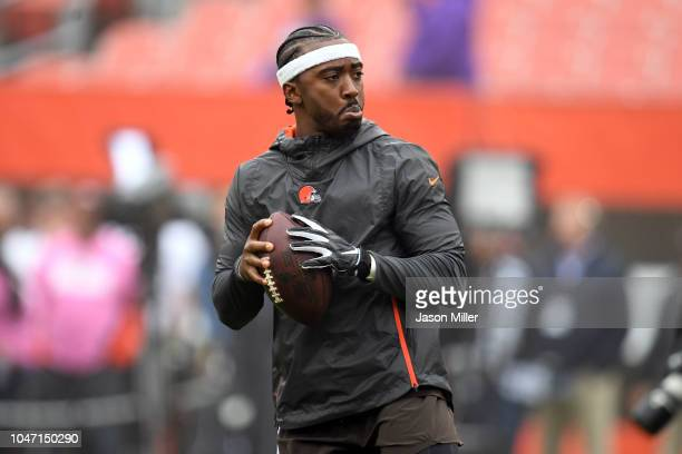 Tyrod Taylor of the Cleveland Browns warms up before the game agaisnt the Baltimore Ravens at FirstEnergy Stadium on October 7 2018 in Cleveland Ohio